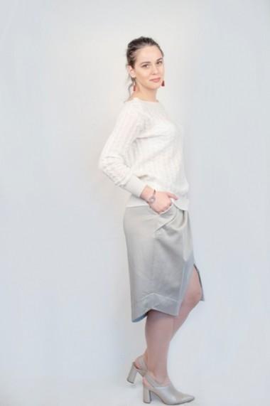 Pulover Carmen Grigoriu dama cashmere-alb