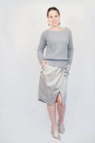 Pulover Carmen Grigoriu dama cashmere-gri inchis