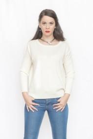 Pulover Carmen Grigoriu dama cashmere baza gat-alb