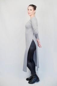 Rochie Carmen Grigoriu cu slit si maneca lunga-gri
