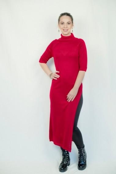 Rochie Carmen Grigoriu cu slit si maneci raglan-rosu