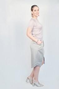 Bluza Carmen Grigoriu din viscoza cu maneci raglan-roz pal