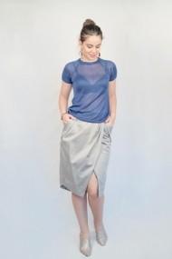 Bluza Carmen Grigoriu din viscoza cu maneci raglan-bleumarin