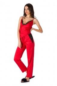 Pijama En Prive din satin de matase Rosu Model Lilly