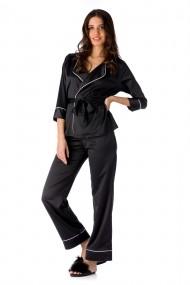 Pijama En Prive din satin de matase Negru Model Iris