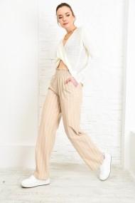 Pantaloni largi Alacati Stili ALC-020-034 Bej