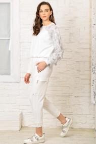 Pantaloni Alacati Stili DNZ-3113 Alb