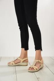 Sandale plate din piele ShoesTime 19Y 2103 Bej