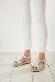 Sandale plate din piele ShoesTime 19Y 2103 Gri