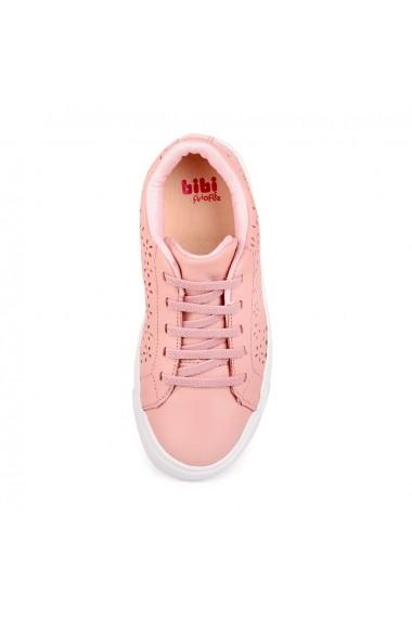 Pantofi Fete Bibi Agility Roz Cu Detalii Perforate
