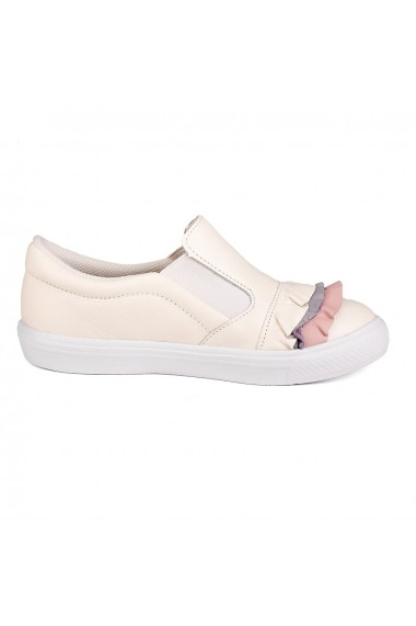 Pantofi Fete Bibi Agility Albi Cu Volane