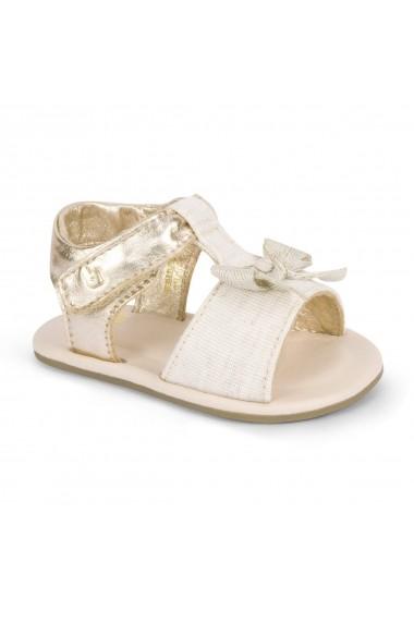 Sandale Fetite Bibi Afeto Aurii Cu Funda Nude