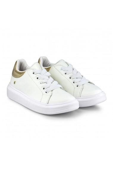 Pantofi Fete Bibi Glam Albi/Gold