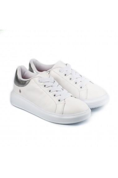 Pantofi Fete Bibi Glam Albi/Silver