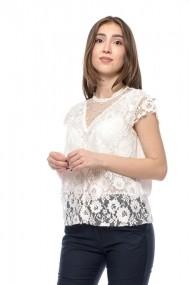 Bluza alba din dantela cu aplicatii de perle Jolenttine