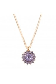 Pandantiv cu lant Violet placat cu aur 24K - 5034/1-371371RG