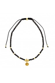 Bratara Argint 925 placata cu aur 18K Friendship pietre semipretioase Black Spinel Black Cord