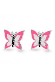 Cercei Argint 925 pentru copii Little Fuchsia & White Butterfly