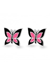 Cercei Argint 925 pentru copii Little Black & Fuchsia Butterfly