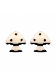 Cercei Argint 925 pentru copii Fairy Tale Black & White Mushroom