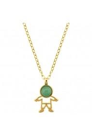 Colier placat cu aur - The Precious Little Boy si piatra semipretioasa Quartz Verde