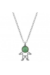 Colier placat cu argint - The Precious Little Boy si piatra semipretioasa Quartz Verde