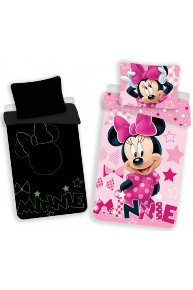 Lenjerie de pat Disney Minnie fosforescenta 140x200cm