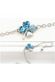 Bratara SWEET 4 LEAF aquamarine cu cristale