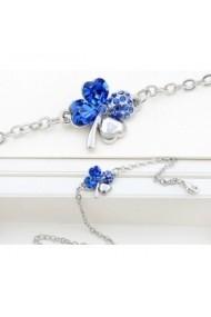 Bratara SWEET 4 LEAF blue  cu cristale