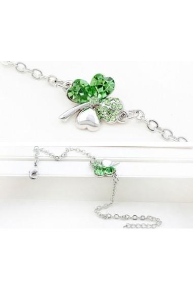 Bratara SWEET 4 LEAF verde deschs cu cristale