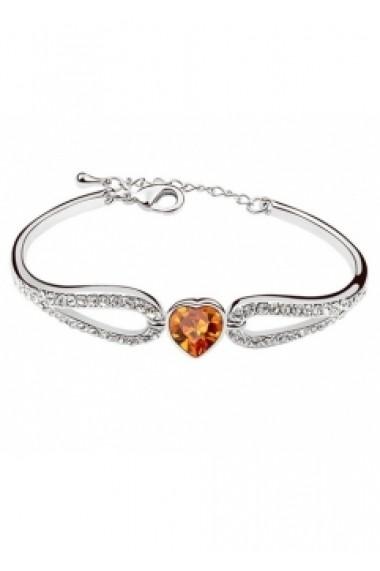 Bratara Regal Heart cu cristale orange