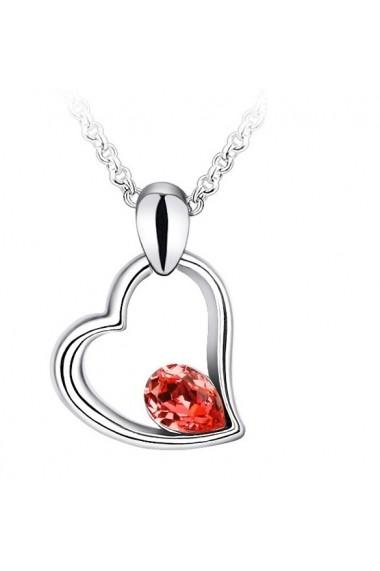 Colier EXPENSIVE HEART rosu cu cristale