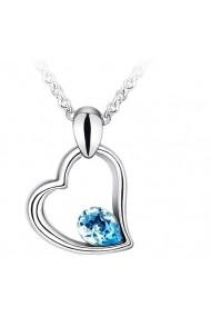 Colier EXPENSIVE HEART aquamarine cu cristale