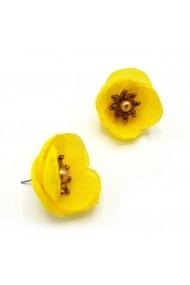 Cercei floare culoarea galben Happy