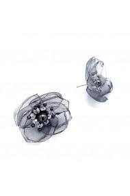 Cercei gri argintiu cu design floral Will