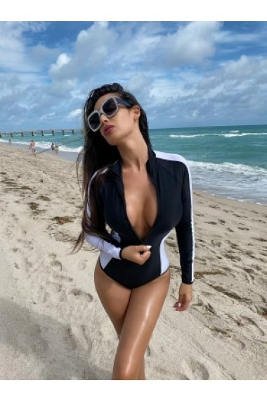 Surf-up Long Sleeve Bikini Brazilian Negru, Alb Motivate Store