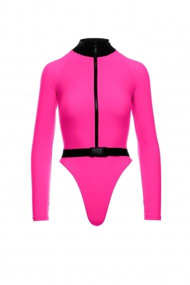 Costum de baie intreg Scuba Roza Neon Motivate Store