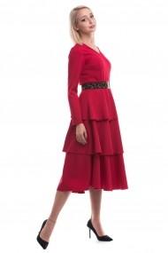 Rochie de zi midi Tinka cu volane rosie