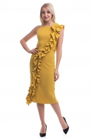 Rochie de ocazie midi Tinka cu volane galben mustar
