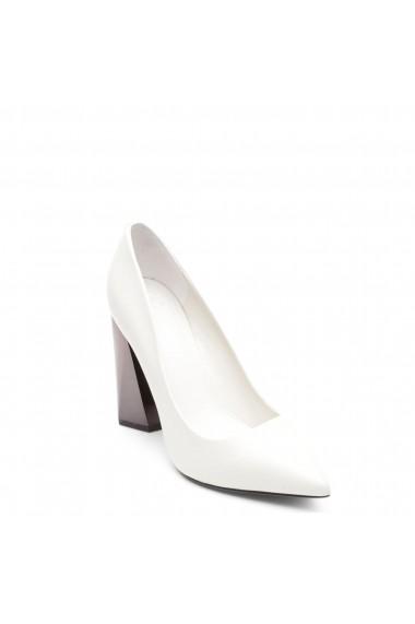 Pantofi cu toc Guess FLODE4LEA08_IVORY Alb