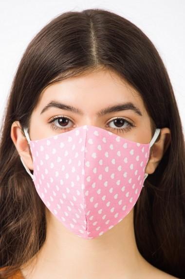 Masca de protectie, roz cu inimi, reutilizabila, BE YOU