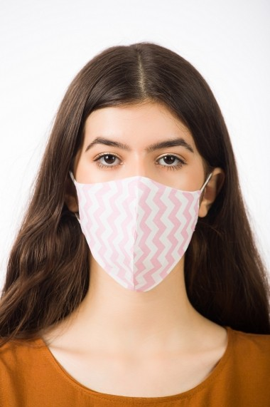 Masca de protectie, roz cu model alb, reutilizabila, BE YOU