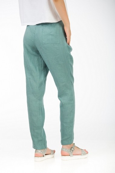 Pantaloni drepti din in, BE YOU menta