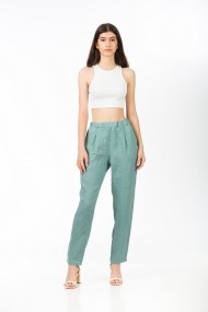 Pantaloni drepti din in, BE YOU menta