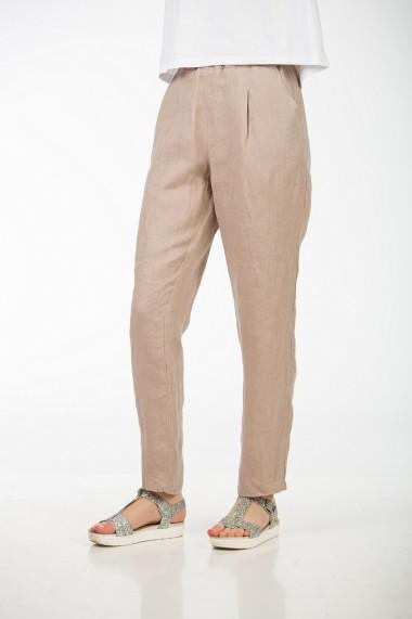 Pantaloni drepti din in, BE YOU bej