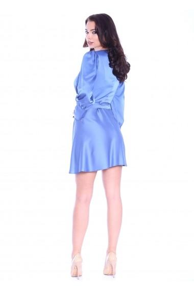 Rochie bleu Roserry scurta petrecuta din satin