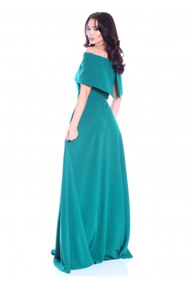 Rochie verde Roserry lunga cu corset si umeri cazuti