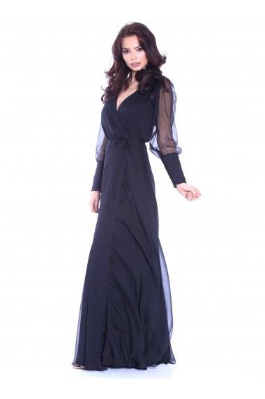Rochie neagra Roserry lunga petrecuta din matase naturala