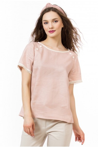 Bluza Sense din in Piper roz