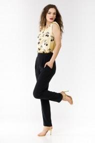 Pantaloni drepti Sense vascoza si cupro Deea negru